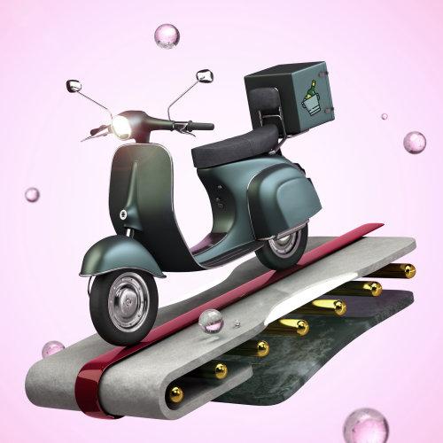 Arte de dibujos animados de scooter