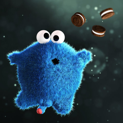 3d children character with biscuits