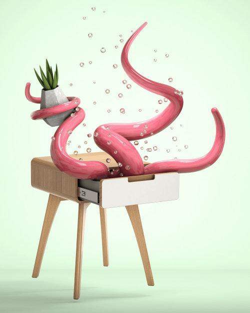 3d octopus in desk
