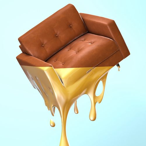 3d sofa with gold color