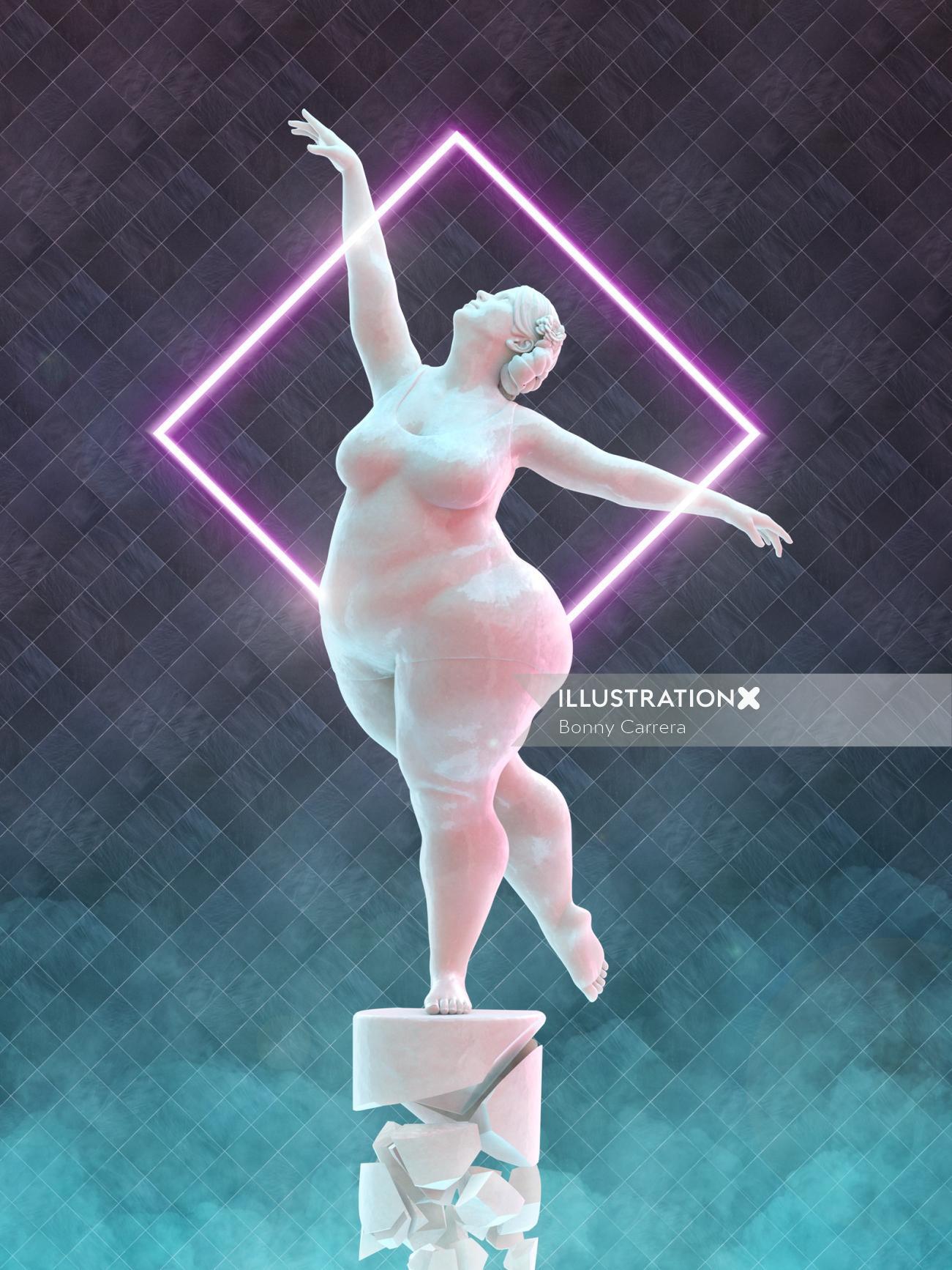 Cartoon art of dancer