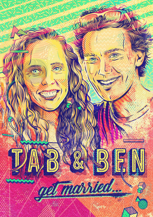 Wedding card invitation design for my friends Ben and Tabs