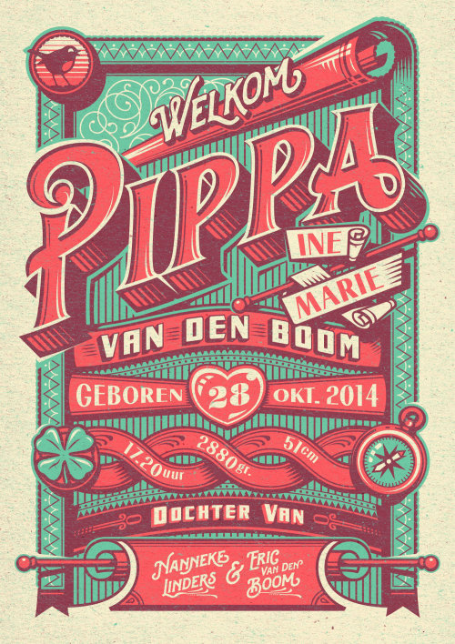 Pippa birth announcement poster design