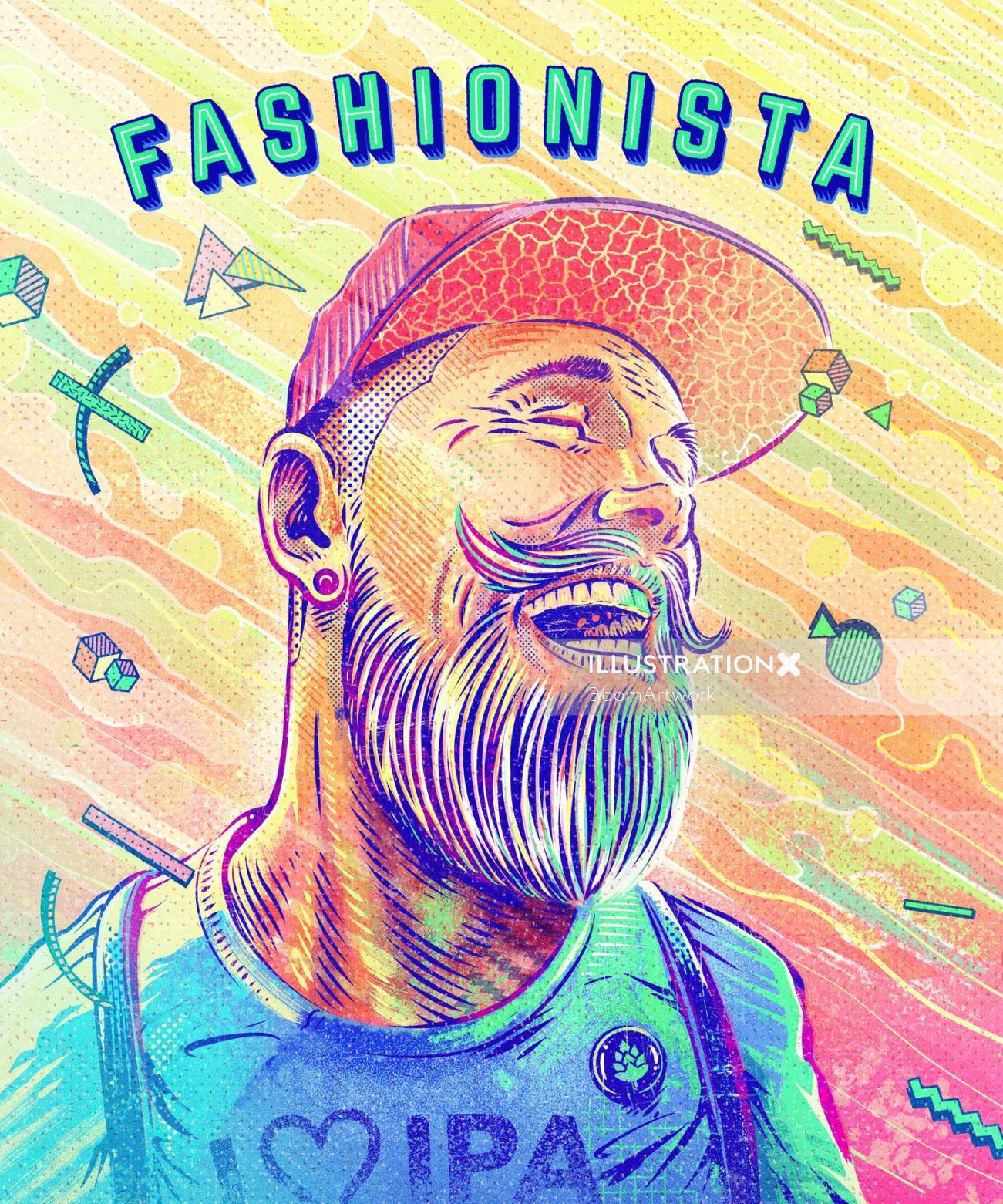Portrait illustration of laughing hipster