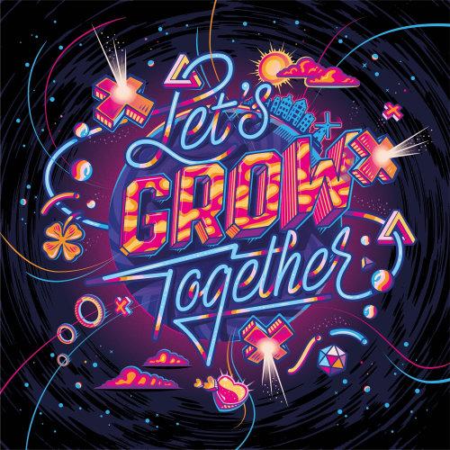 Let's Grow Together Lettering illustration