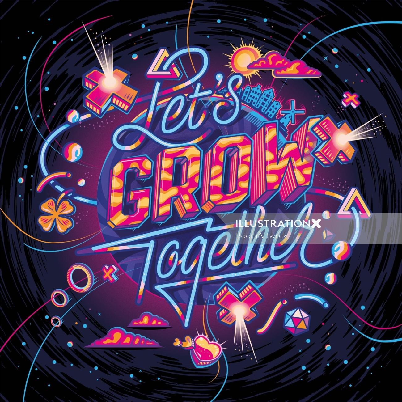 Let's Grow Together Lettering illustration