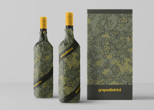 Grape district wine packaging illustration