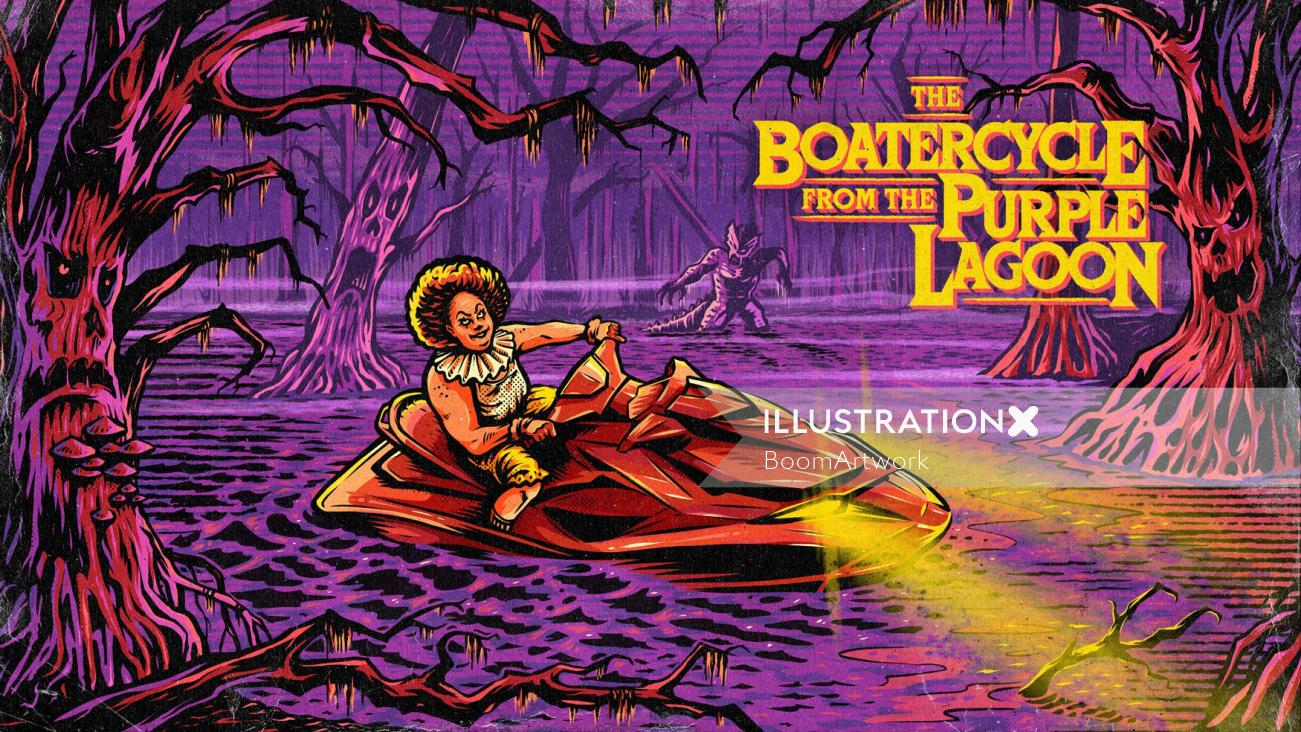 Poster design of the botercycle from the purple lagoon