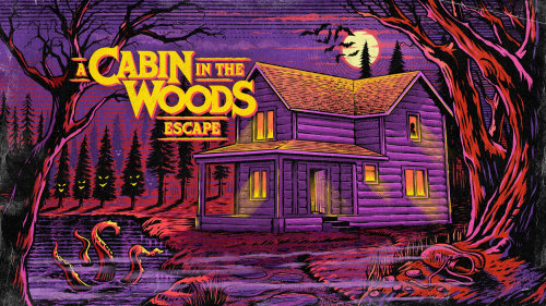 A cabin in the woods escape poster design