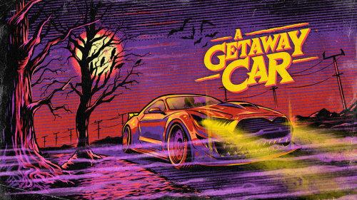 Digital painting of a getaway car