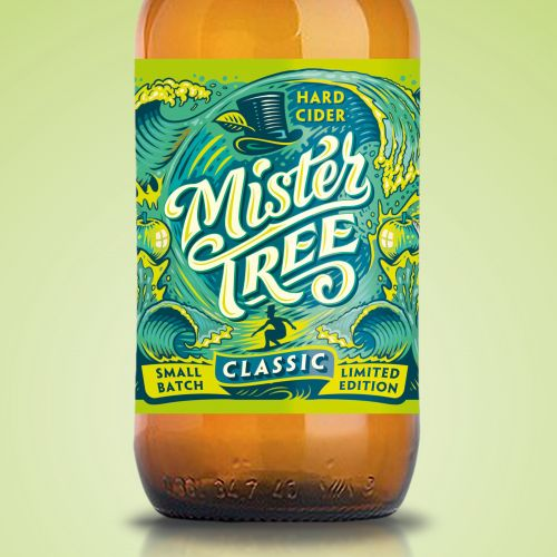 Graphic design of mister tree label