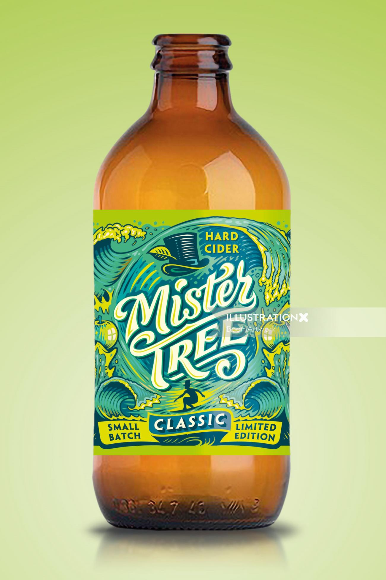 Graphic design of mister tree label