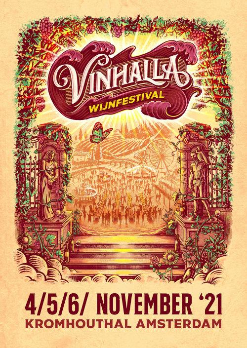 Poster illustration for wine festival Vinhalla