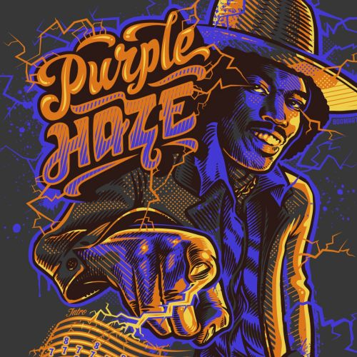 Purple haze jimmy t-shirt illustration
