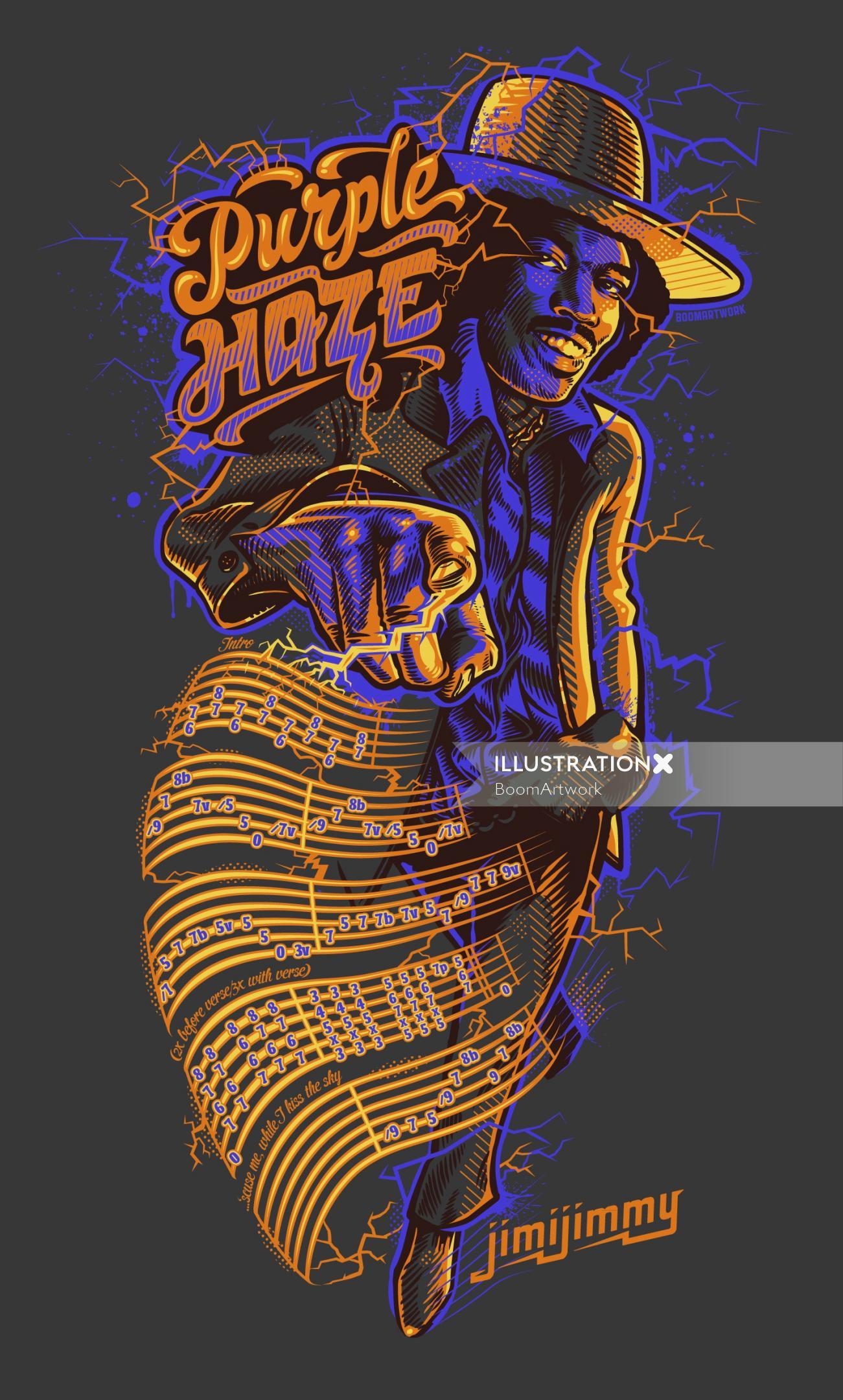 Purple haze jimmy t-shirt illustration