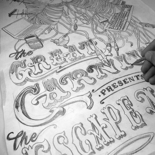 Pencil lettering of great carnival