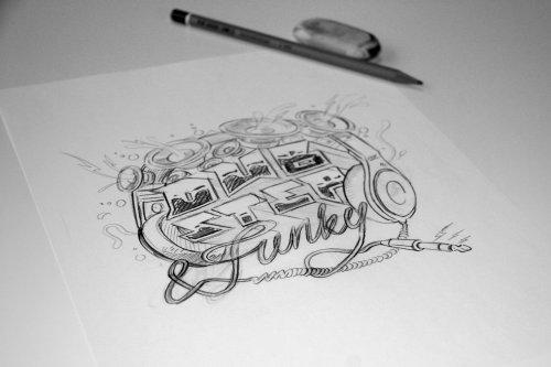Sketch art of funky headphones