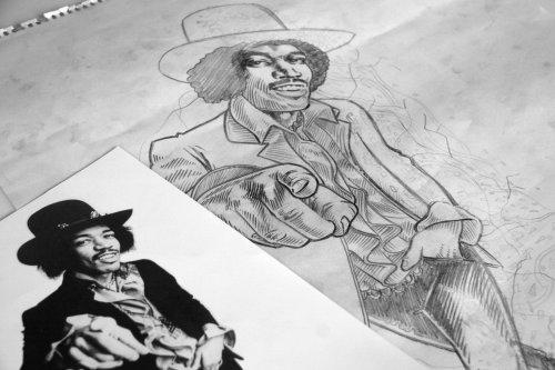 Live sketch art of man