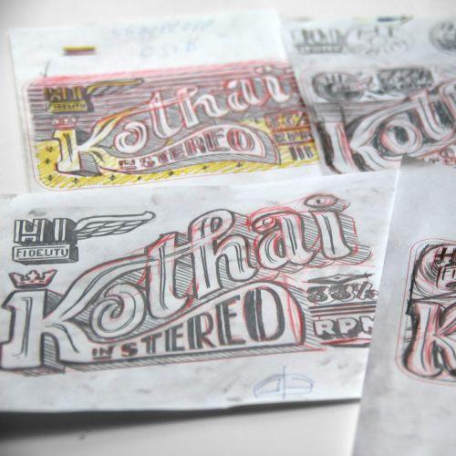 Lettering art of kothai in stereo