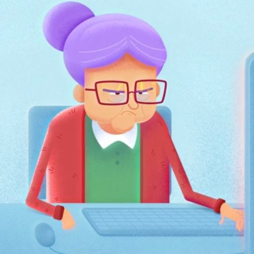 3d character old lady in front of computer