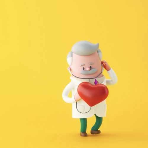 3d doctor character with love shape