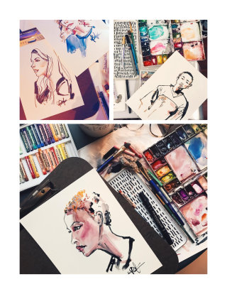 Collection of watercolor portraits