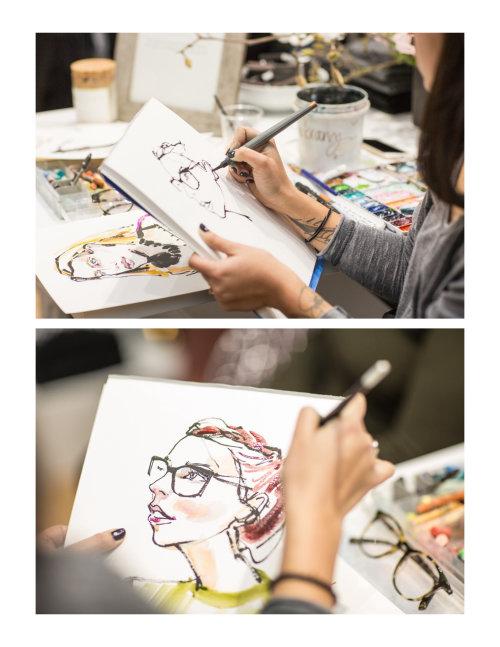 Pintura ao vivo de retrato de uma mulher
