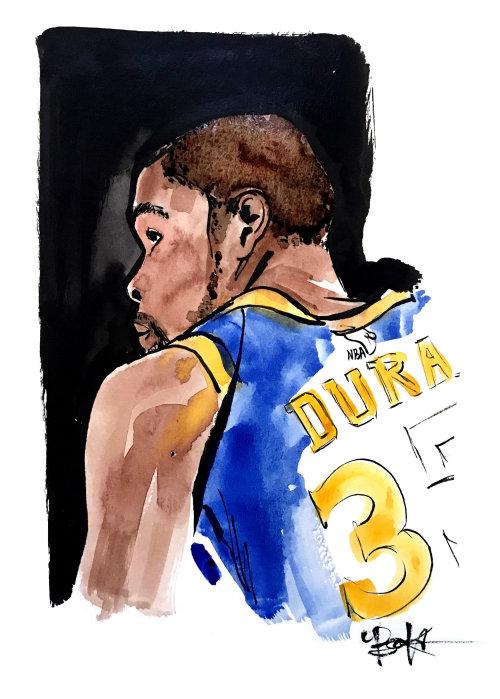 Arte da aguarela de Kevin Durant