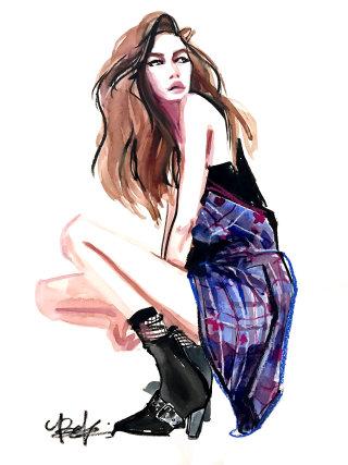 Fashion Sketch of Gigi Hadid