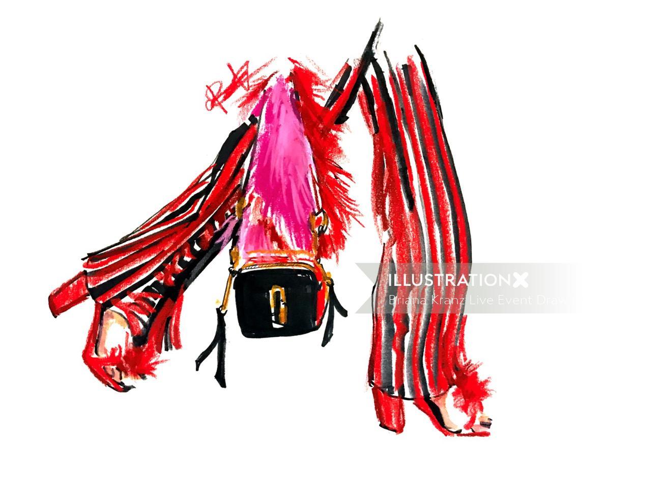 Woman walking in heels with purse