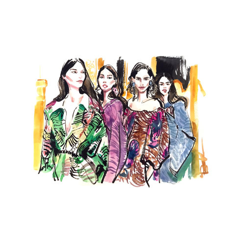 Watercolour sketch of fashion women