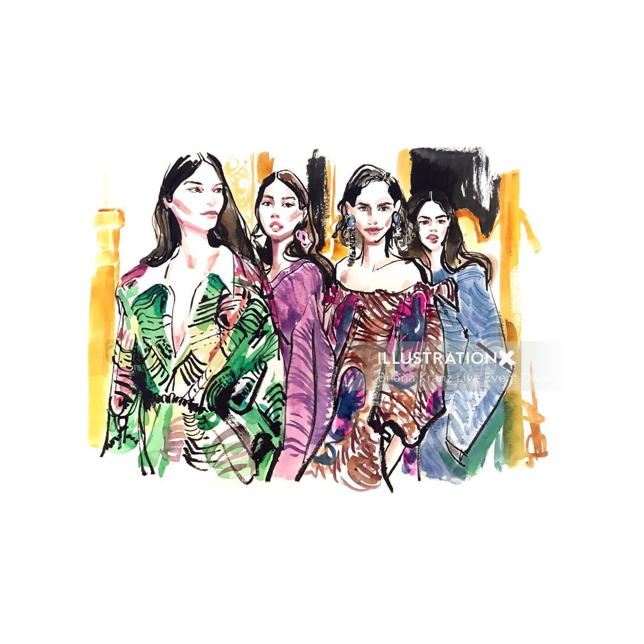 Watercolour sketch of fashion women