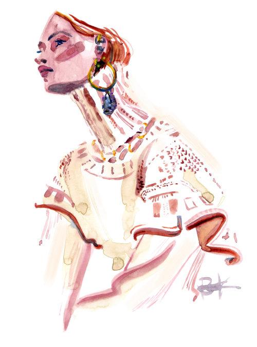 Pintura em aquarela de mulher usando jóias da moda