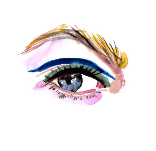 Pintura em aquarela de olho com cílios