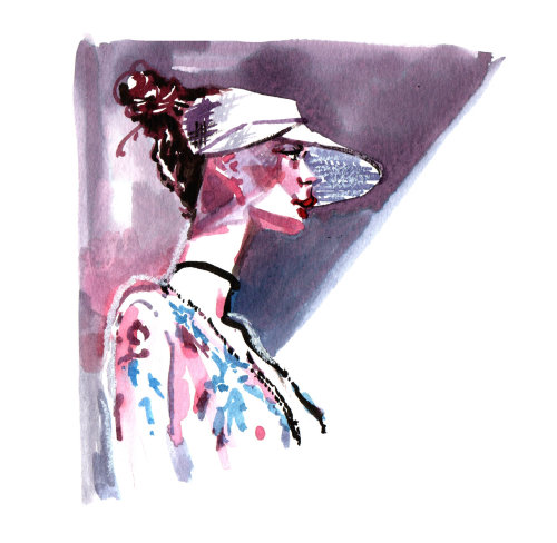 pintura em aquarela de mulher