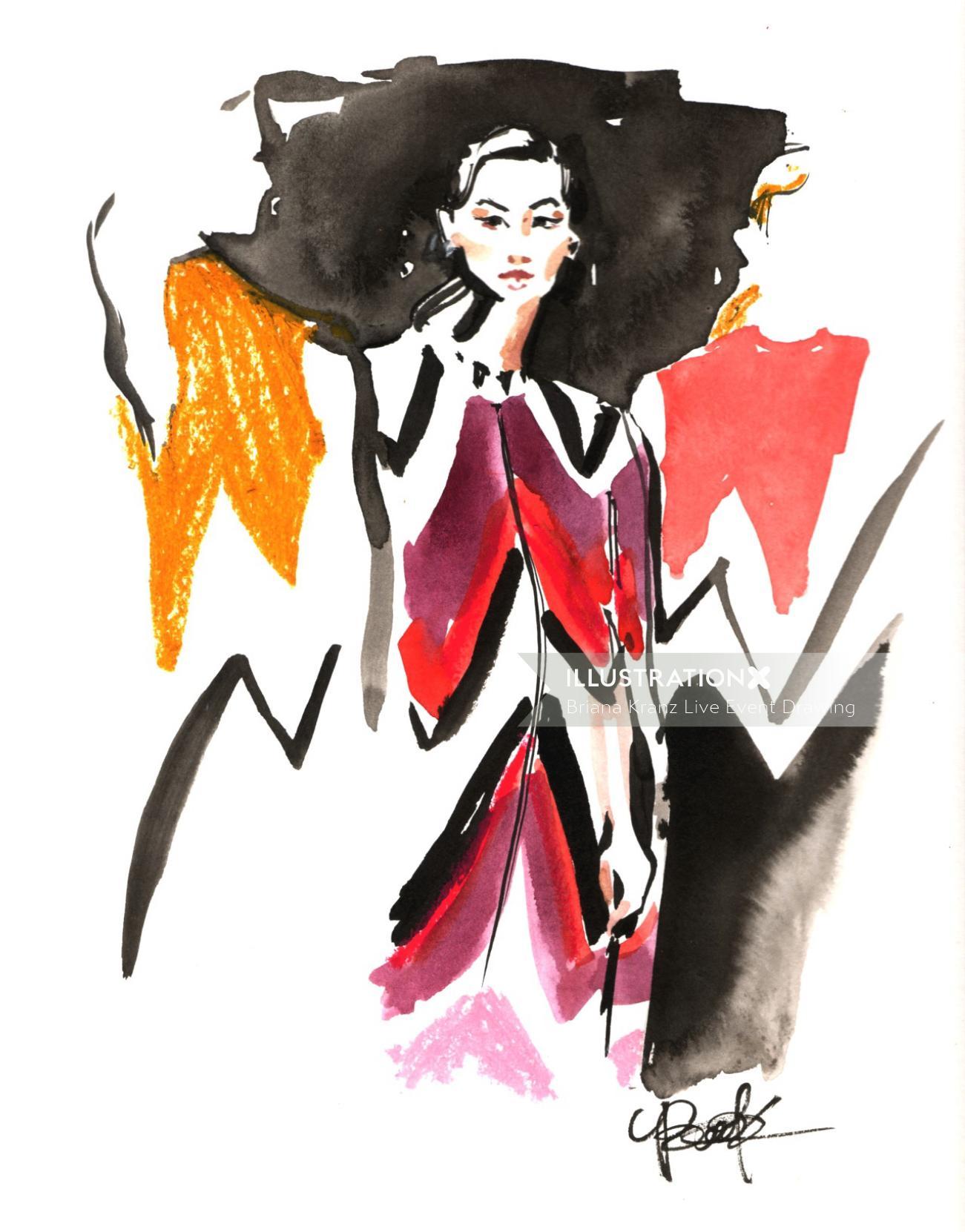Watercolour sketch of a fashion lady