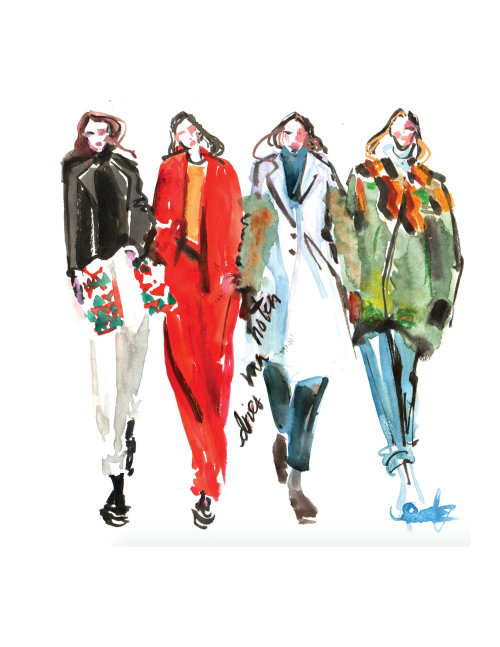 Runway Fashion Sketch For Dries Van Noten