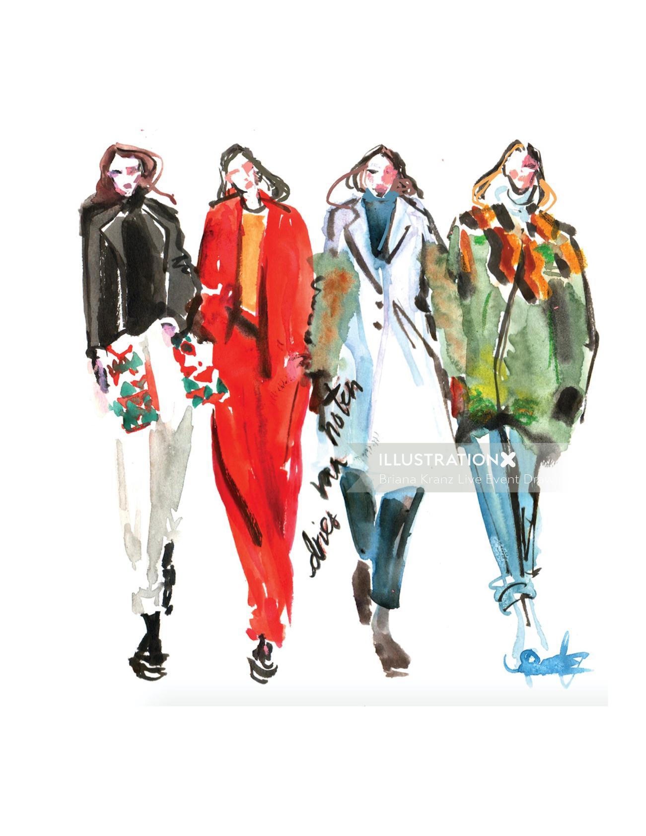 Runway Fashion Sketch For Dries Van Noten