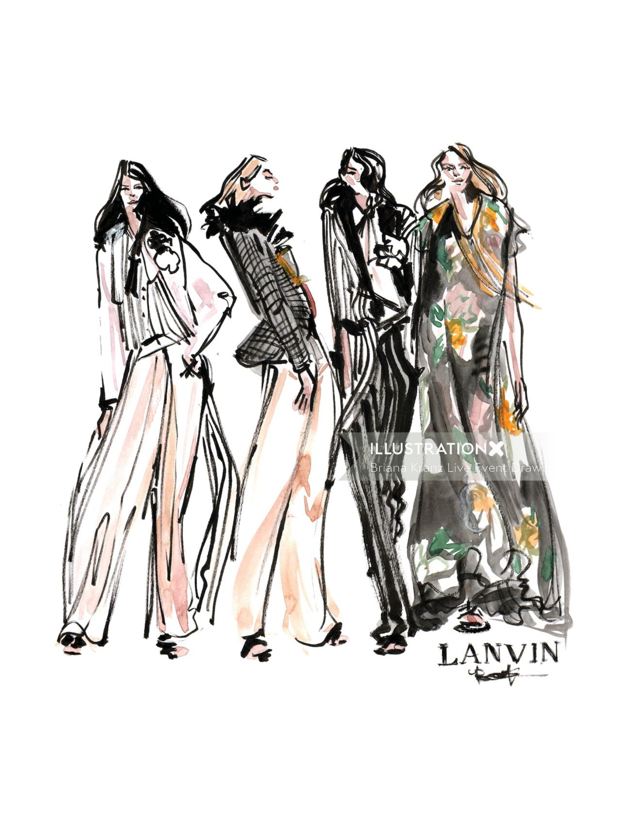 Women Fashion Illustration For Lanvin