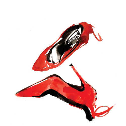 Illustration of red shoes for women