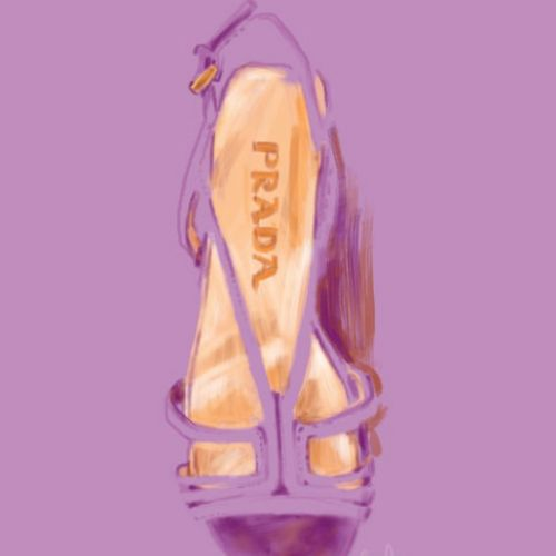 Prada women's shoe - watercolour art