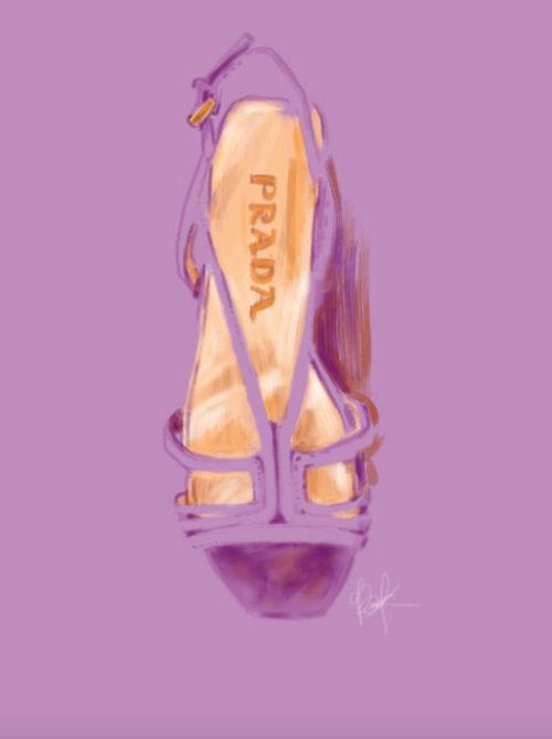 Prada women's shoe - watercolour art