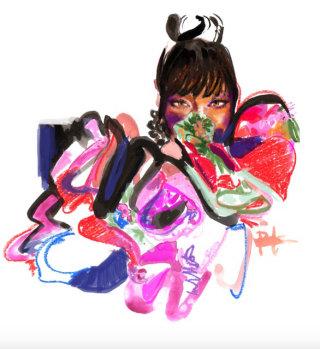 Watercolour portrait of a woman