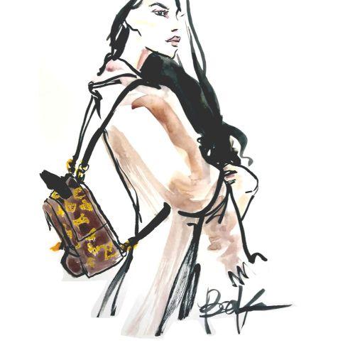 Stylish woman watercolour painting