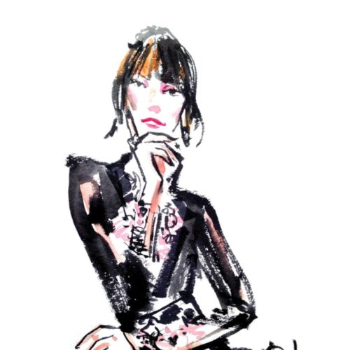 Live event drawing of an elegant woman