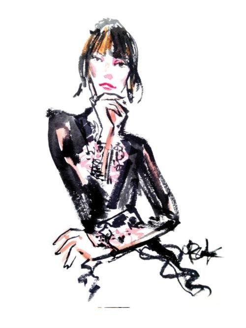 Evento ao vivo, desenho de uma mulher elegante
