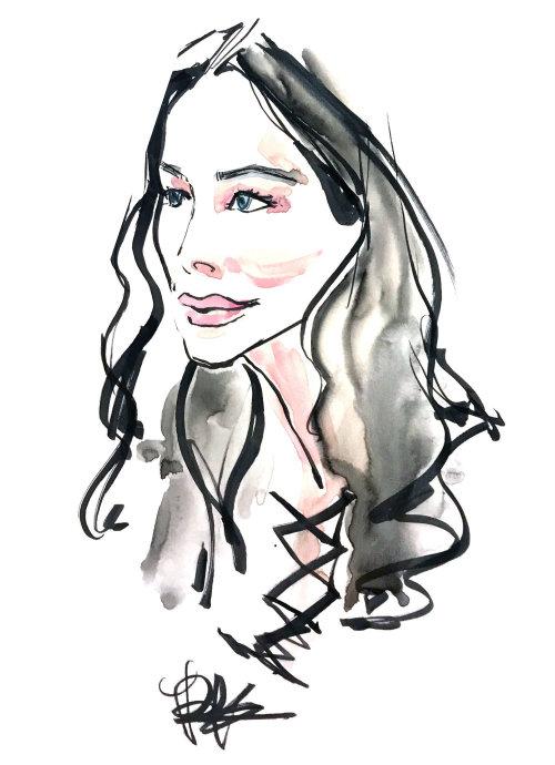 Pintura do retrato pelo ilustrador baseado em Califórnia