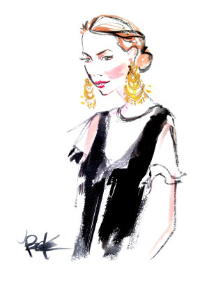 Watercolour sketch of woman wearing earrings