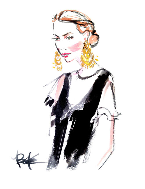 Watercolour sketch of woman wearing earrings