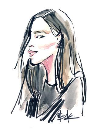 Fashion lady portrait drawing